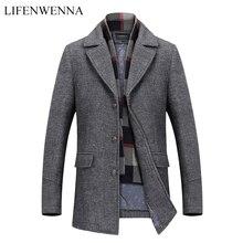 Yeni moda marka erkek giyim ceket yün ceket erkekler tek göğüslü Turn Down yaka Slim Fit Peacoat uzun kış erkek ceket 4XL