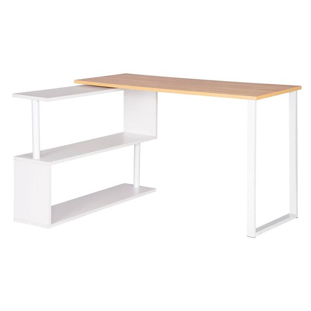 1PC Computer Office Desk Wood L-Shaped Corner Desk with Shelves Foldable Computer Workstation PC Gaming Study Writing Desk Home