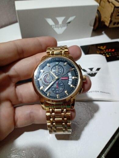 NIBOSI New Quartz Watch Men Sport Watches Men Steel Band Clock Waterproof Gold Wrist Watch Relogio Masculino photo review