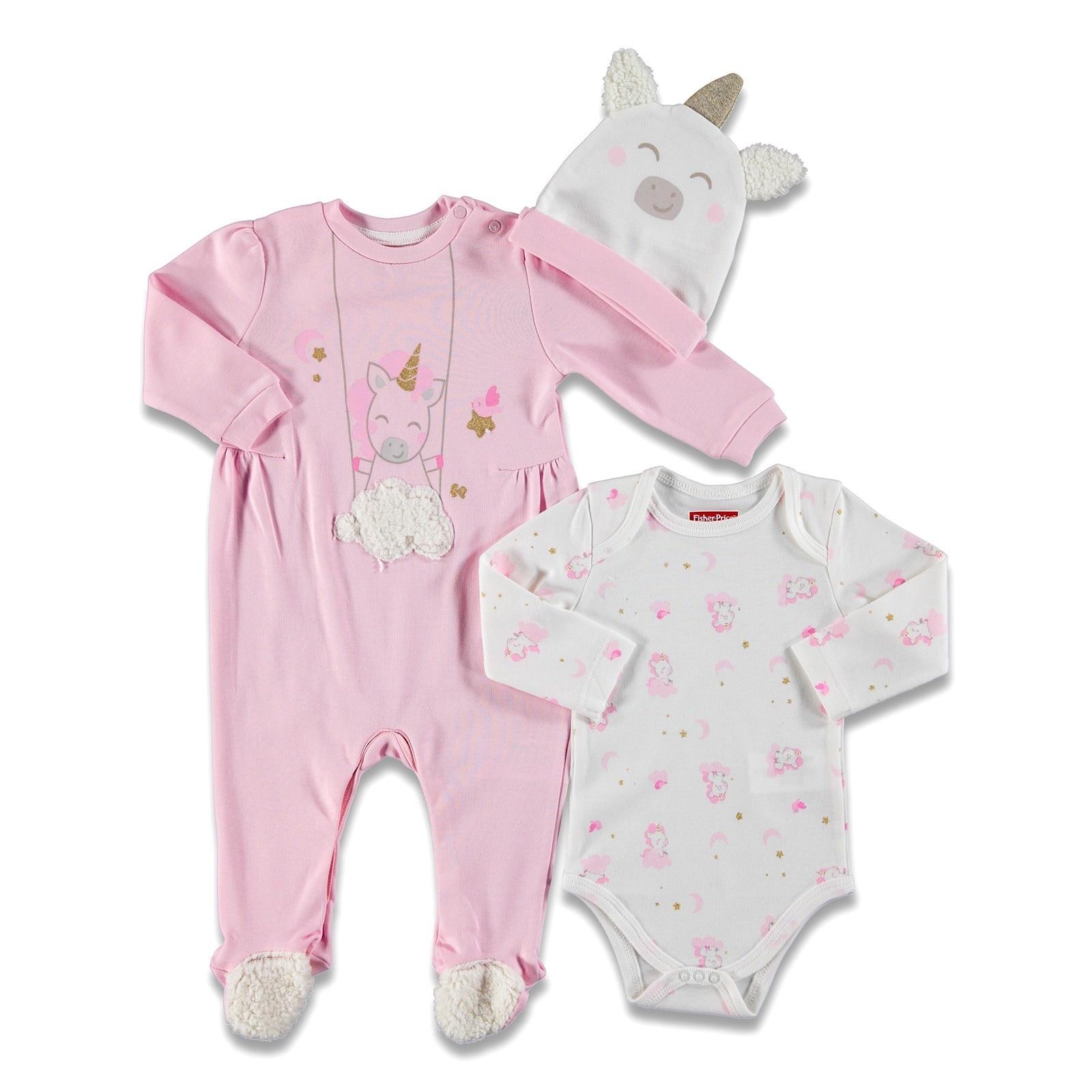 Ebebek Fisher Price Magical Unicorn Baby Romper Hat Bodysuit 3 Pack Set