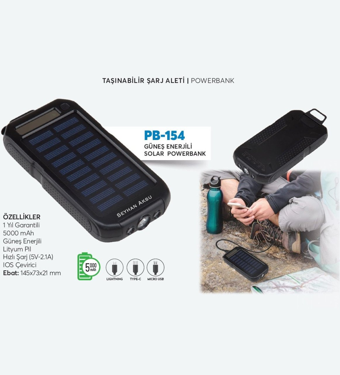 Personalized PB 154 Black 10.000 mAh Solar Powered Fast Charger Powerbank Gift Bags & Wrapping Supplies     - title=