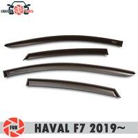 Deflector janela para HAVAL F7 2019 ~ chuva defletor sujeira proteção styling acessórios de decoração do carro de moldagem|Estilo de cromo| |  -