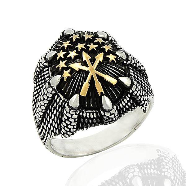 925 Silver Ethnic Circassian Figure Printed Men Ring Mans Ring
