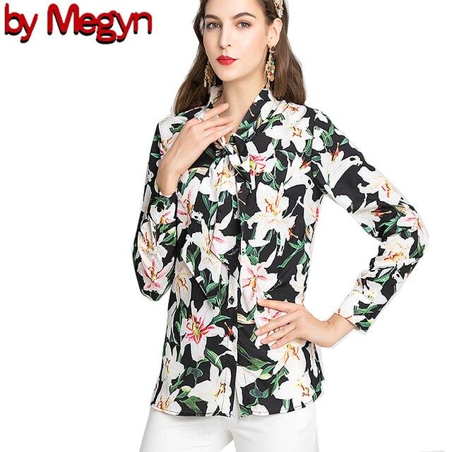 بواسطة Megyn المرأة بلوزة مكتب أنيقة نمط ربطة القوس فيونكة زنبق الورد طباعة حجم كبير أسود كريم الوردي كم طويل بلايز والقمصان
