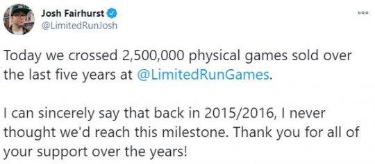 独立游戏发行商Limited Run达成250万实体游戏销量插图