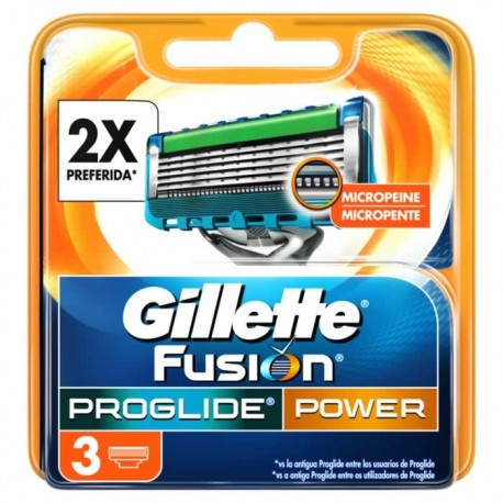 GILLETE FUSION POWER 3 UNITS PROGLIDE CHARGER