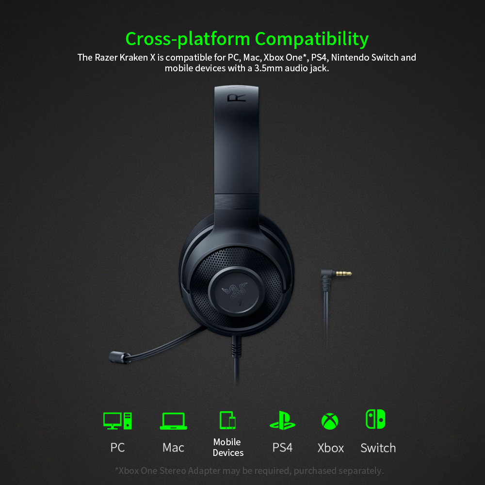 Razer Kraken X Ultralight Headphone Noise Over-Ear wired Gaming Headset Analog 3.5 mm jack 7.1 Surround Sound with Mic, Xbox,PS4 2