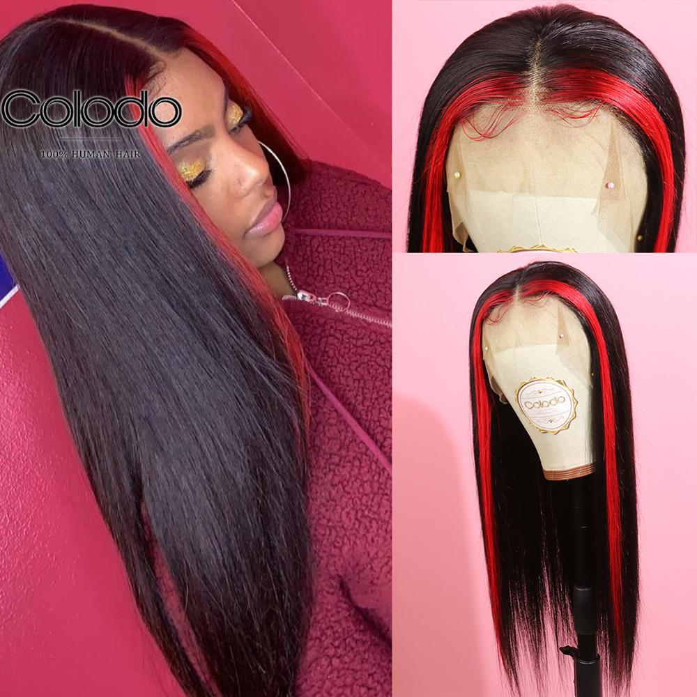 COLODO Red/Brown Highlight Wig Pre Plucked Straight Lace Front Wig Remy Brazilian Lace Front Human Hair Wigs For Black Women