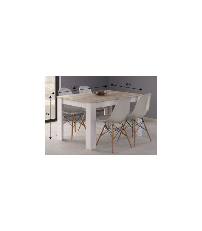 Extendable Dining Table Kendra In Oak Color Canadian/White Artik