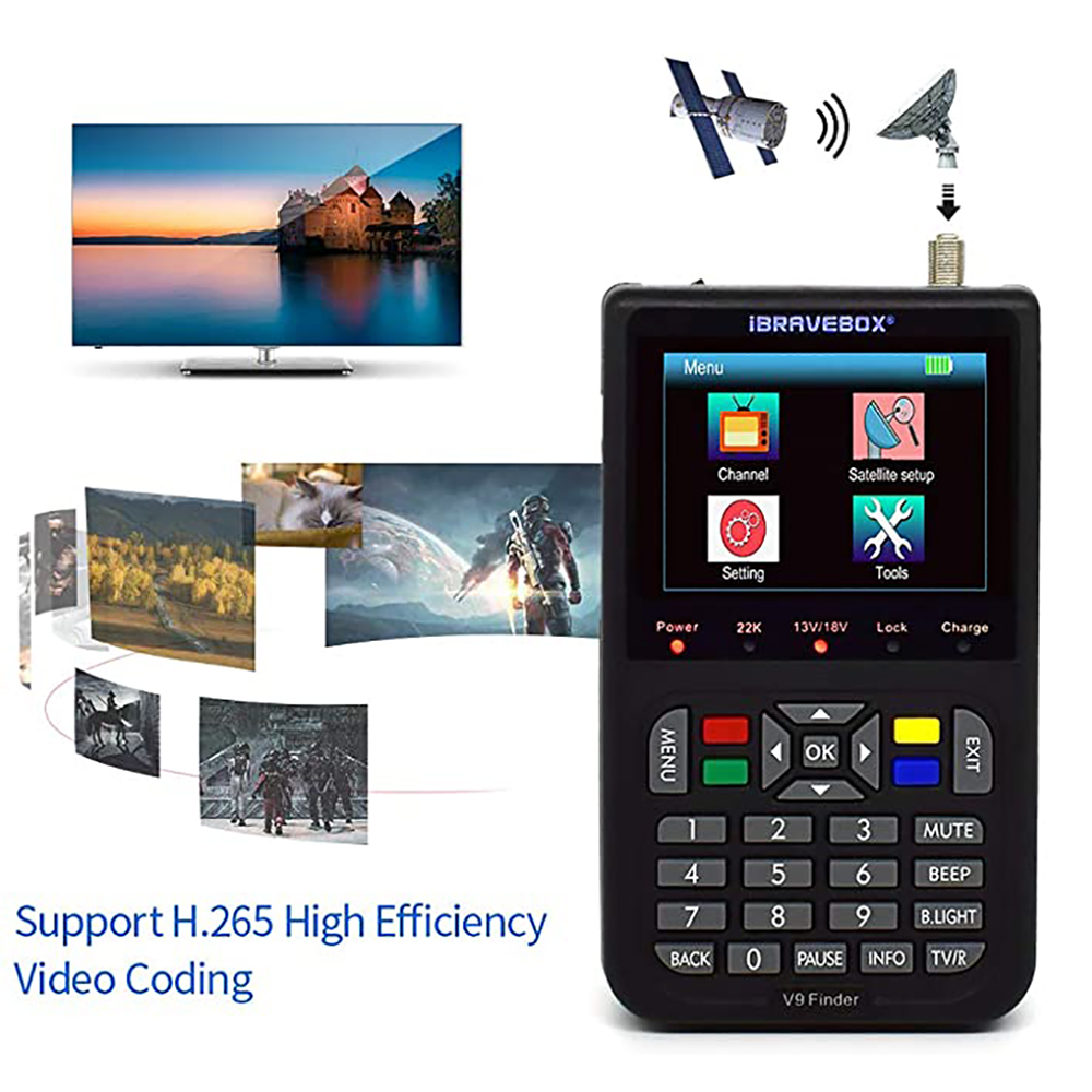 IBRAVEBOX V9 Finder HD спутниковый искатель DVB S2 Цифровой H.265 Full 1080P Встроенный аккумулятор 3000 мАч FTA 3,5