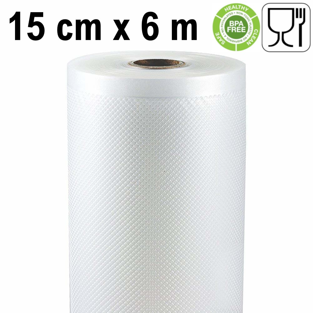 Embossed Roll Vacuum Storage 15 Cm X 6 Meters (2 Pieces) It Works With Most Of The External Vacuum Sealers Machines