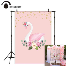 Allenjoy princess backdrop Pink elegant swan dance flowers birthday party background photozone photocall photobooth photophone цена в Москве и Питере