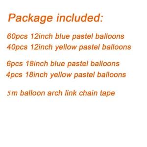 Image 4 - 111ชิ้น/เซ็ตMacaron BlueสีเหลืองพาสเทลบอลลูนGarland ArchสำหรับBoysวันเกิดงานแต่งงานพื้นหลังDecoation