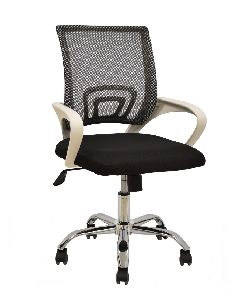 Office Armchair FISS NEW, White, Gas, Rocker, Mesh And Black Fabric