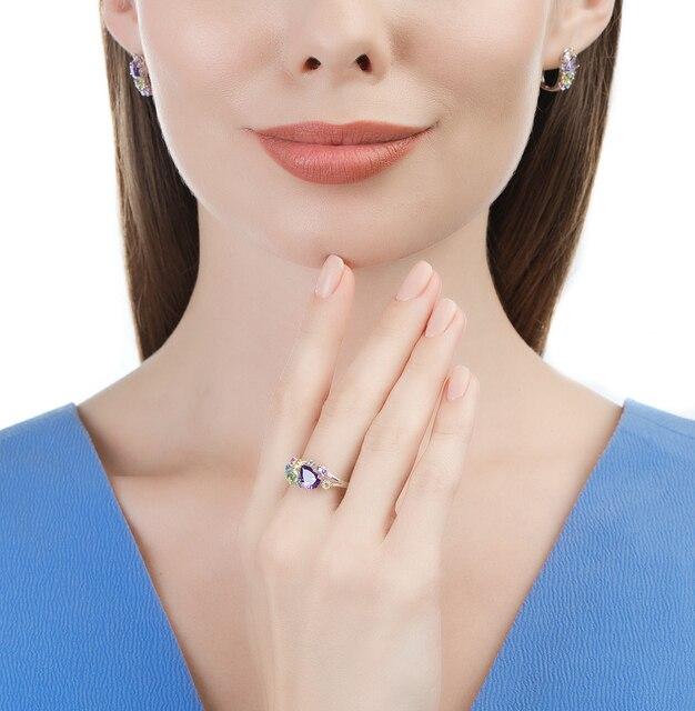 Srebrny pierścionek z próbką światła słonecznego z alpanitu i cyrkoniami 925