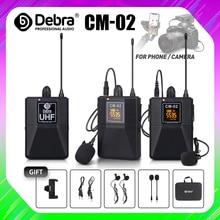 Microfono Lavalier Wireless UHF serie CM con 30 canali selezionabili portata 50m per smartphone fotocamere DSLR Webcast