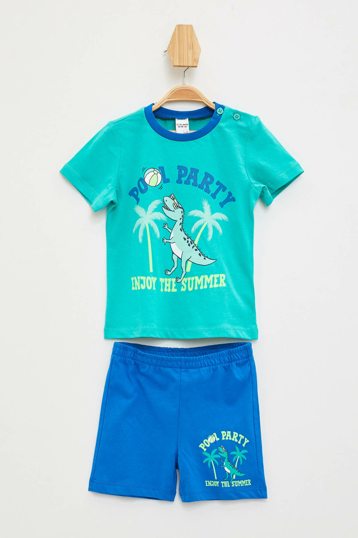 DeFacto Summer Fashion BabyBoy Casual Set Kids O-neck Cute Pattern T-shirt Shorts Boys Comfortable Sets New - L1291A219HS
