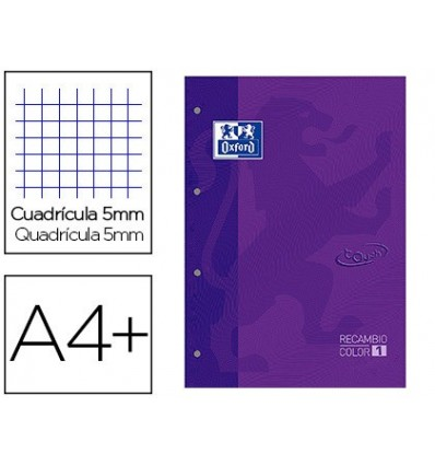 REPLACEMENT COLOR 1 OXFORD DIN A4 + 80 SHEETS 90 GRID 5 MM SOFTCOVER 4 DRILLS LILAC TOUCH 5 Pcs