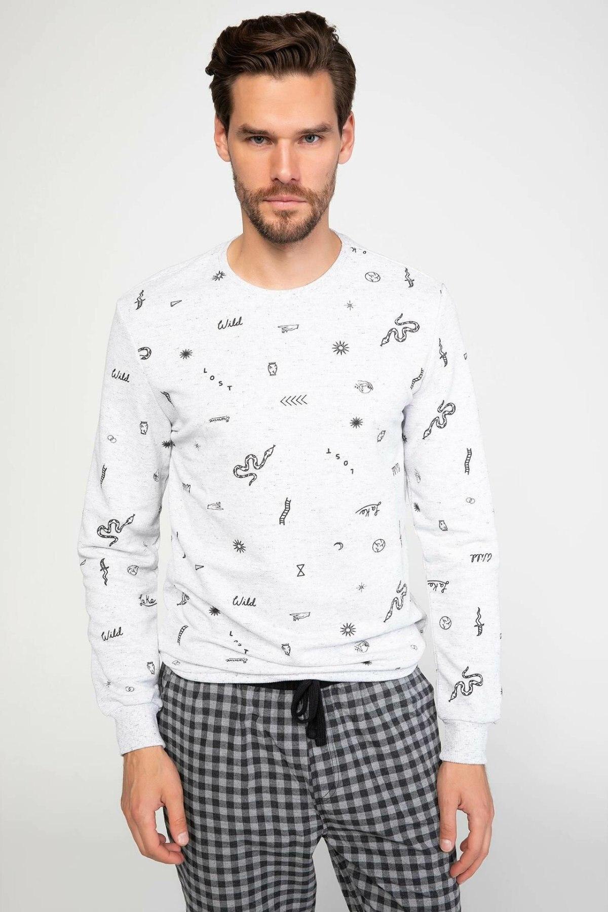 DeFacto Image Prints Men White Homewear Sets Casual Cotton Man Knitted Tops Bottoms Male Pajamas Sets-J8467AZ18WN