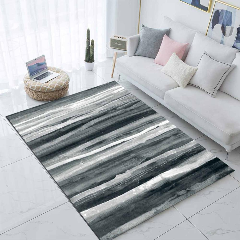 Else Gray Black White Lines Abstract Nordec 3d Print Non Slip Microfiber Living Room Decorative Modern Washable Area Rug Mat