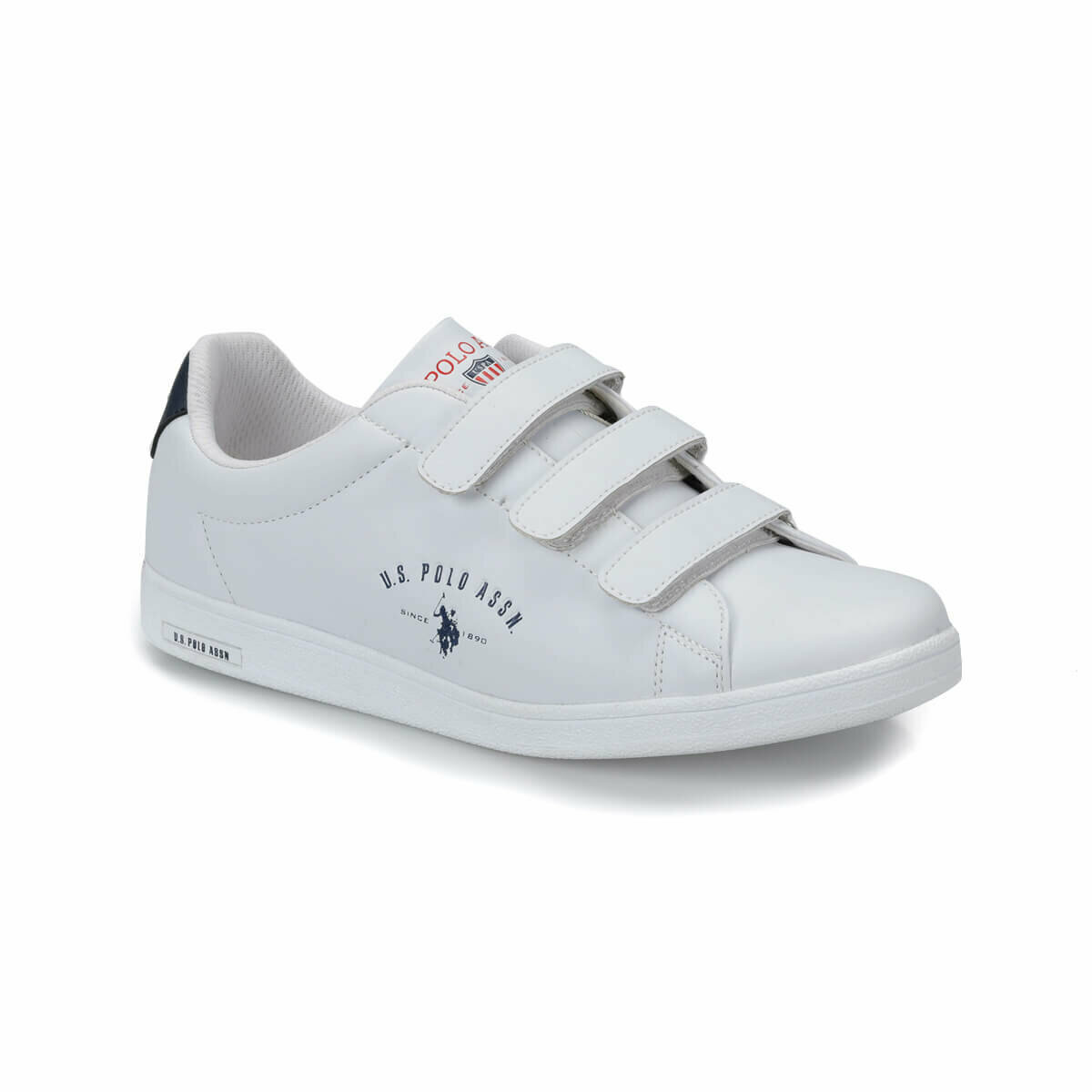 FLO White Men's Sneaker Shoes Hook & Loop Fashion Casual Man Shoes U.S. POLO ASSN. SINGER