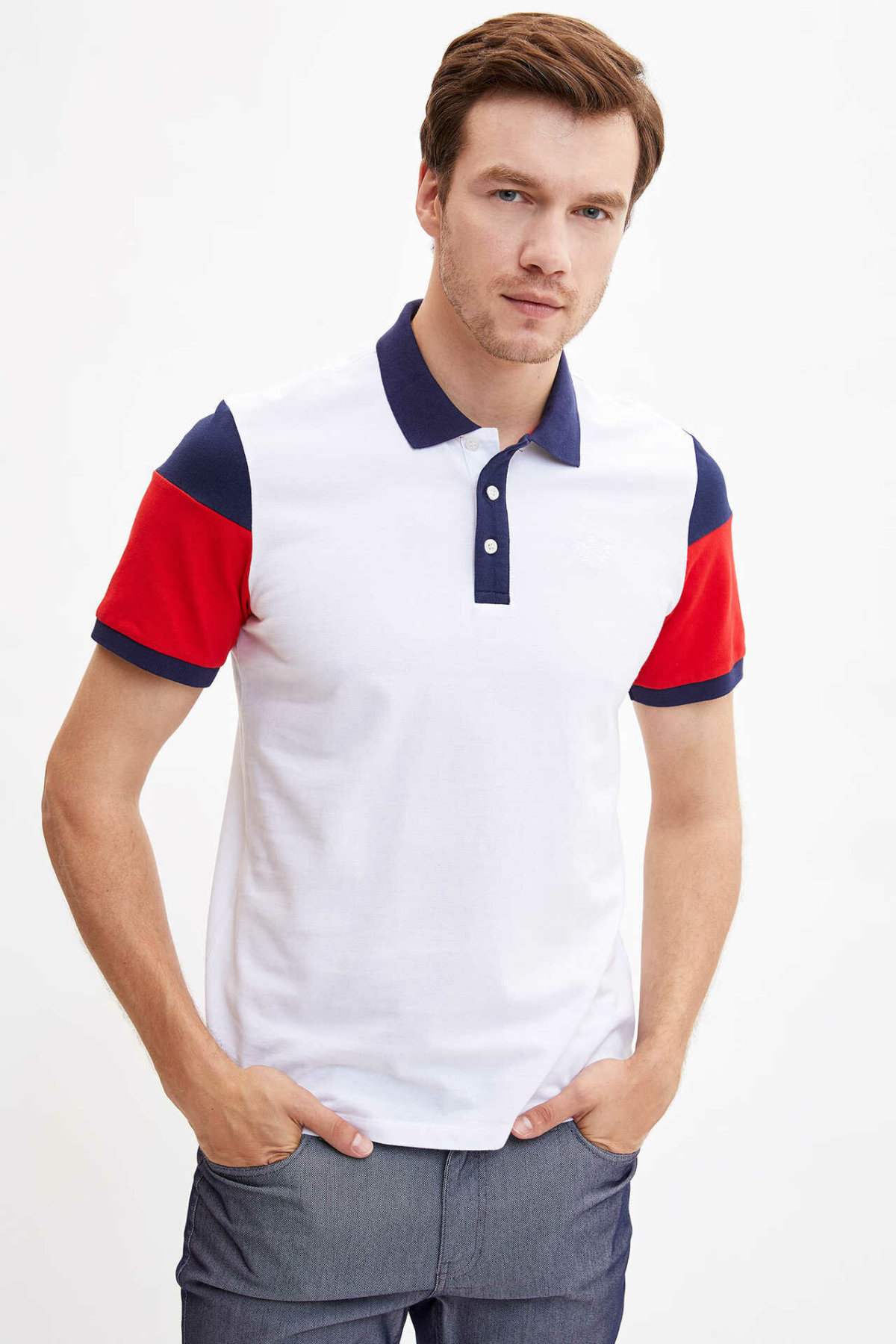 DeFacto Summer Man Fashion Polo Shirt Men's Casual Patchwork Tops Male Cotton Comfort Short Sleeves New - L5009AZ19SM