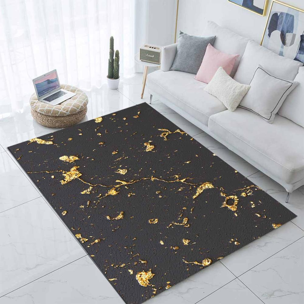 Else Black Golden Yellow Marble Design 3d Print Non Slip Microfiber Living Room Decorative Modern Washable Area Rug Mat