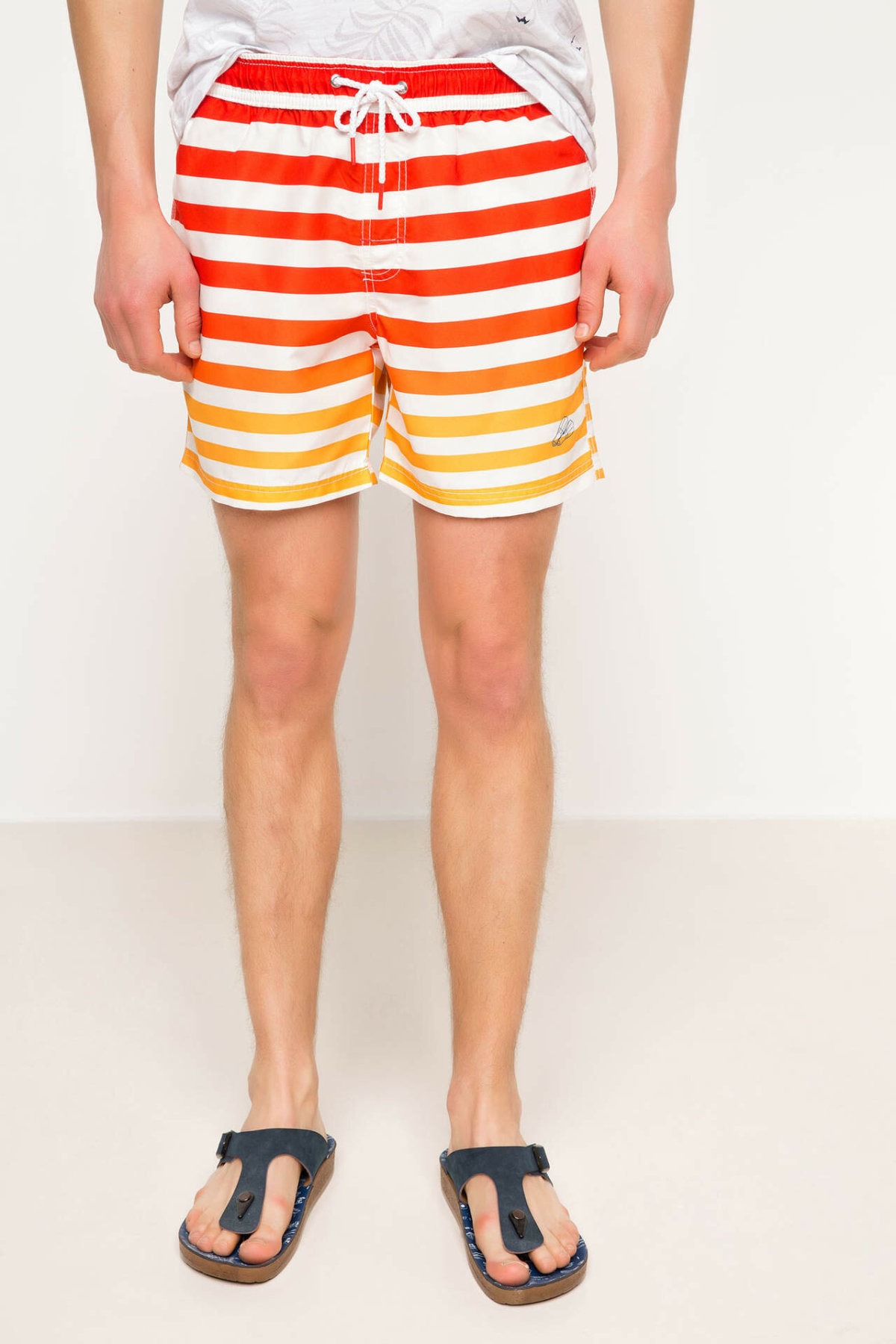 DeFacto Summer Man Woven Swimming Short Male Casual Striped Drawstring Short Pants Men's Loose Swim Bottoms - G7333AZ17HS