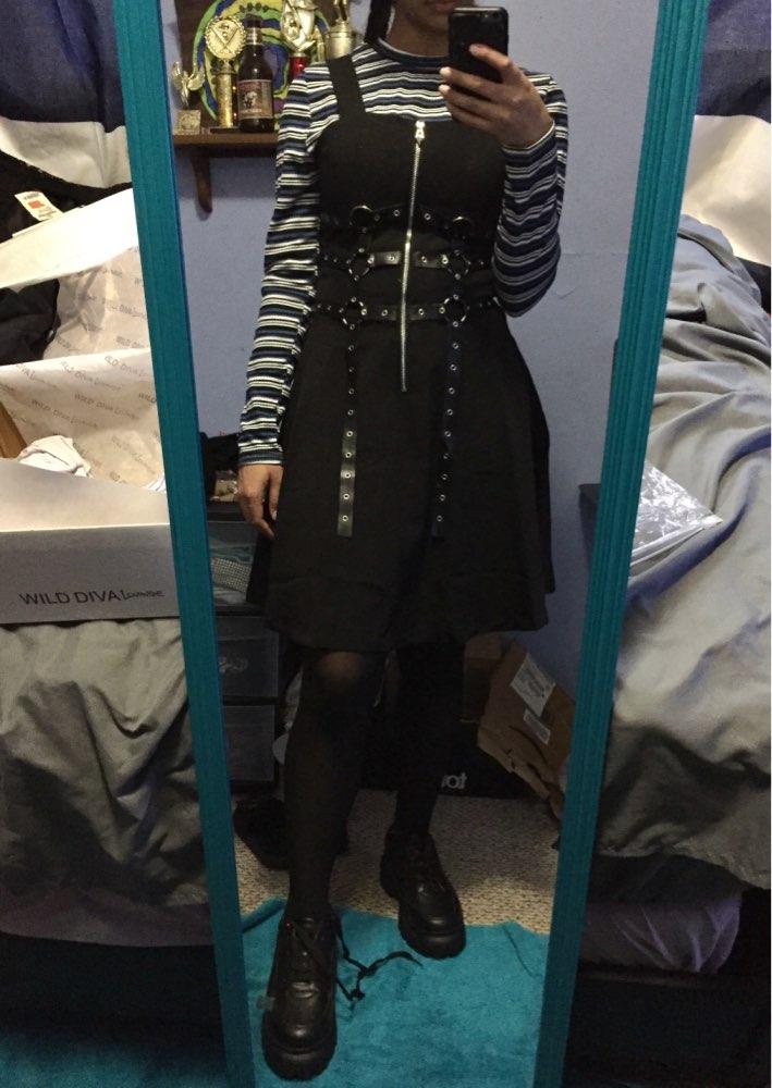 Gothic Women'S Dress Eyelet Web Zipper Harajuku Black Mini Dresses Grunge Summer Sleeveless Backless A Line Sexy Punk Rock photo review
