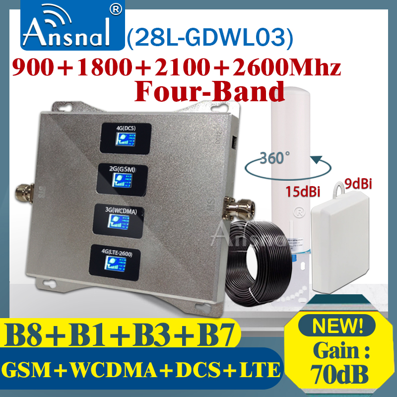 900 1800 2100 2600mhz Four-Band CellPhone Cellular Amplifier 4g Repeater GSM 2G 3G 4G Network Signal Booster GSM DCS WCDMA LTE