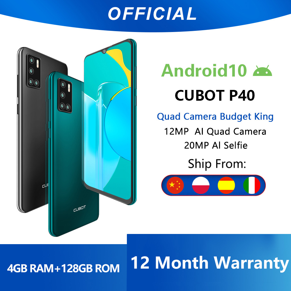 Cubot P40 Rear Quad Camera 20MP Selfie Smartphone NFC 4GB+128GB 6.2 Inch 4200mAh Android 10 Dual SIM Card mobile phone 4G LTE Cellphones  - AliExpress