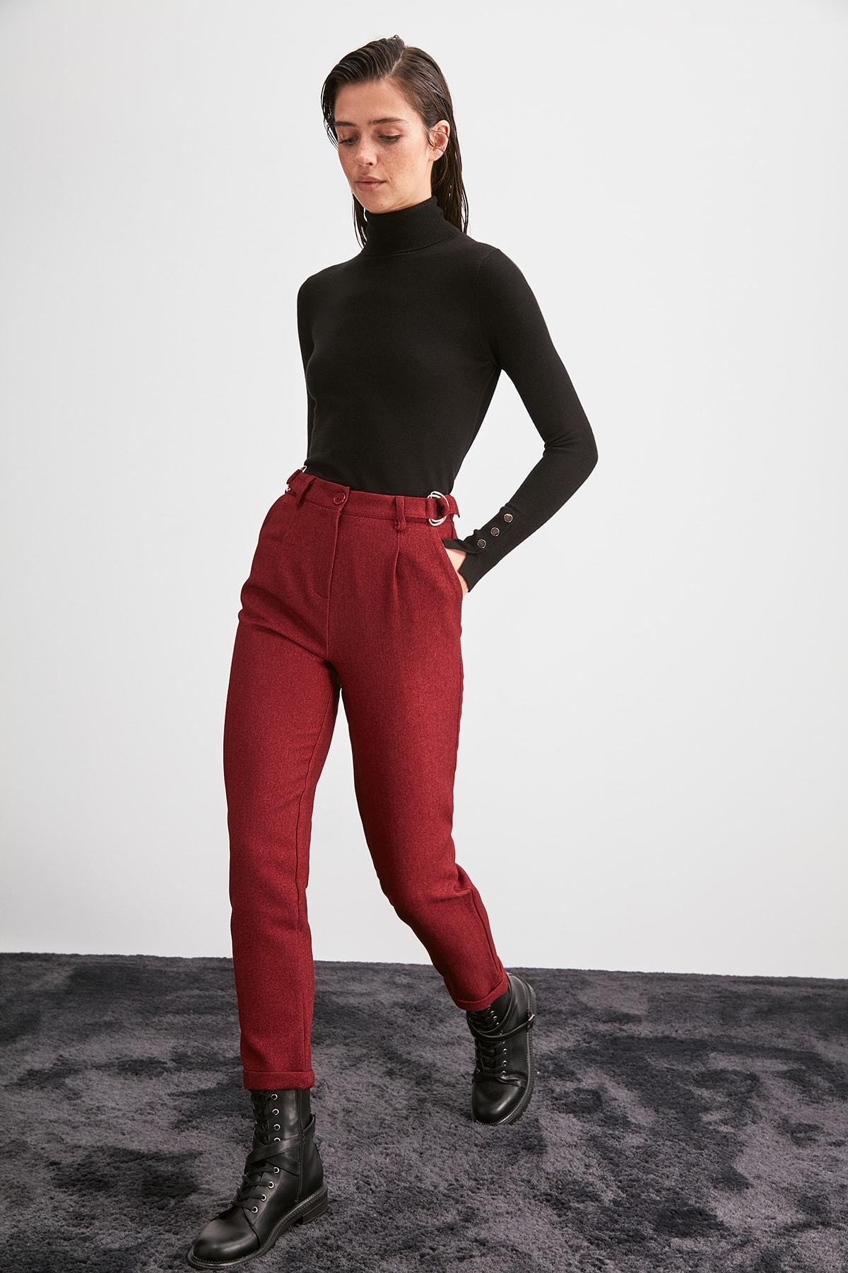 Trendyol Solid Color Belt Detail Pants TWOAW20PL0540