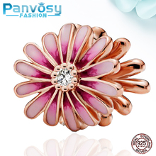 2020 Pink Flower  Bead Fit Pandora Charms Silver 925 Original Bracelets  925 Sterling  Silver Beads Fashion Jewelry Making  DIY 925 sterling silver beads peach flower series girl beads for jewelry making fit original pandora bracelets women diy jewelry