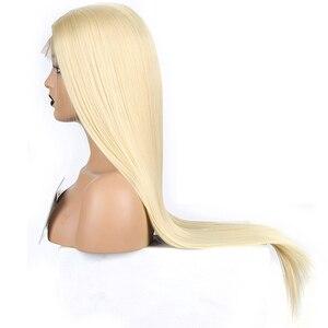 Image 3 - Karizma sentetik dantel ön peruk s sarışın peruk uzun düz saç doğal saç çizgisi dantel ön peruk kadın peruk yan kısmı