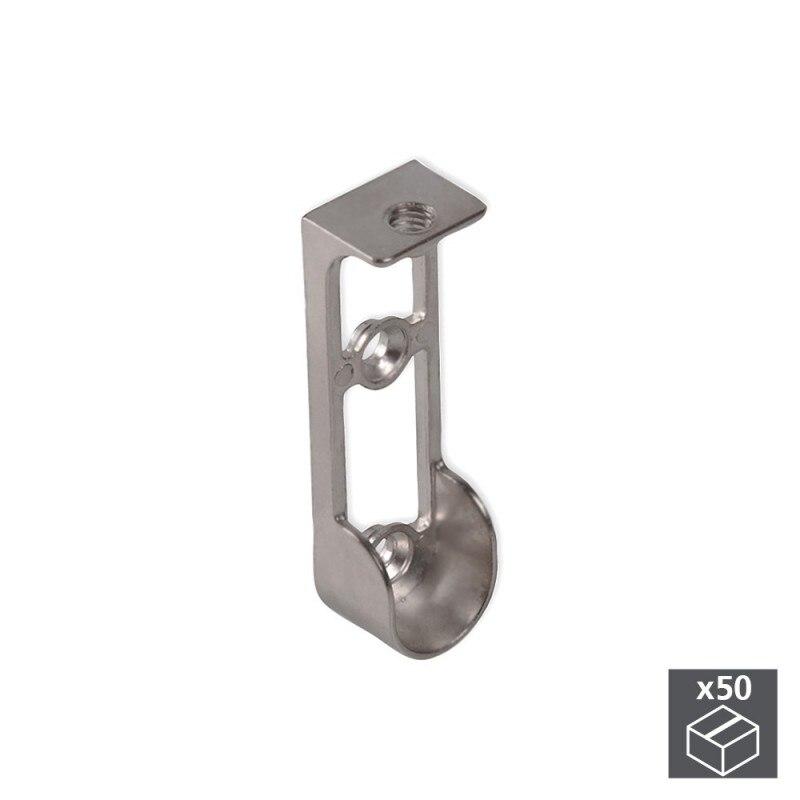 Lot of 50 holders Emuca for hanging rod wardrobe in Zamak finish metallic gray top mount|Furniture Accessories| |  - title=