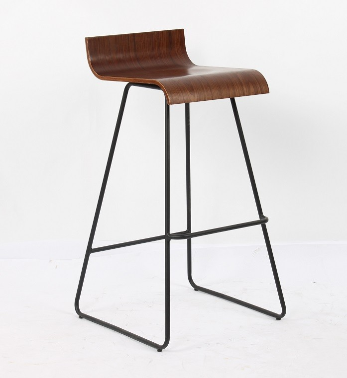 Stool PIETRO, Metal, Wood Walnut