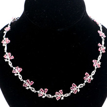 18x12mm Elegant Pink Tourmaline Gift For Girls Silver Necklace 19.5-20.5inch