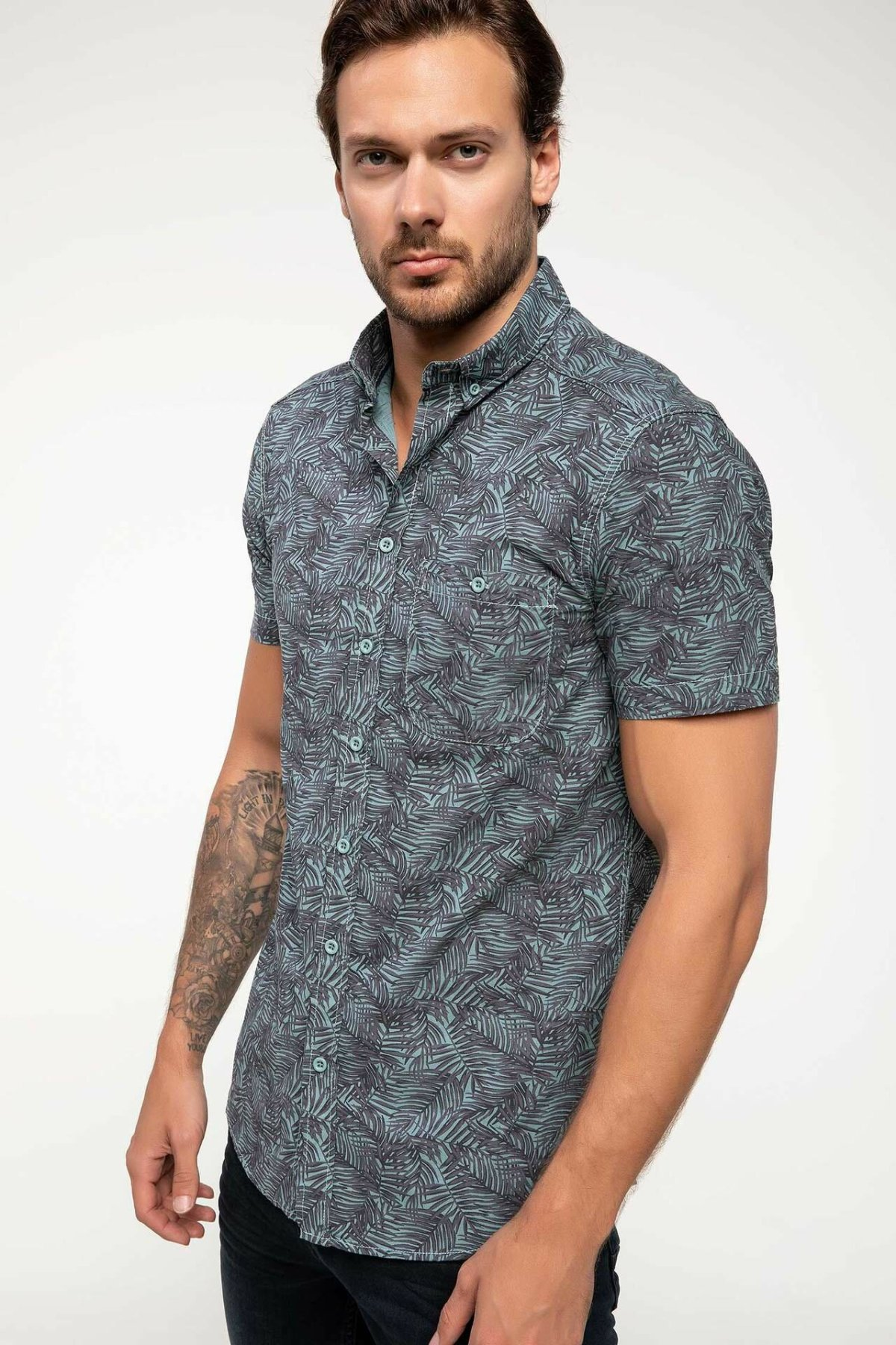 DeFacto Fashion Man Short Sleeve Shirt Male Casual Print Pattern Blousers Summer Men's Leisure Loose Comfort Shirts-I5448AZ18SM