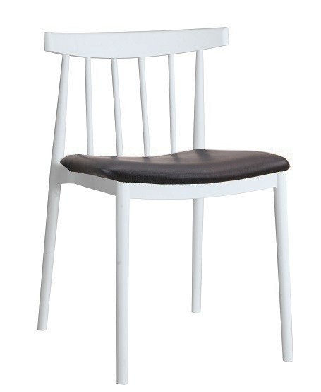 Chair ANTONY, White Polypropylene, Black Cushion