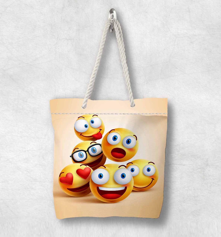 Başka bir sarı küçük sevimli komik Emoji yeni moda beyaz halat kolu kanvas çanta pamuk kanvas fermuarlı Tote çanta omuzdan askili çanta