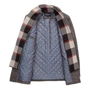 Image 3 - New Fashion Brand Mens Clothing Jacket Wool Coat Men Single Breasted Turn Down Collar Slim Fit Peacoat Long Winter Men Coat 4XL