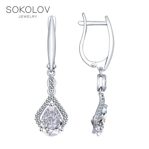Long Drop Earrings With Stones With Stones With Stones SOKOLOV From Silver With Cubic Zirkonia Fashion Jewelry 925 Women's Male