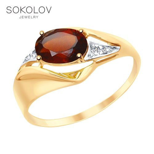 SOKOLOV Ring Gold With Garnet And Cubic Zirkonia Fashion Jewelry 585 Women's Male