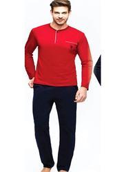 Мужская Хлопковая пижама с длинными рукавами и карманами, спереди, с круглым вырезом, на пуговицах, US.01.17384
