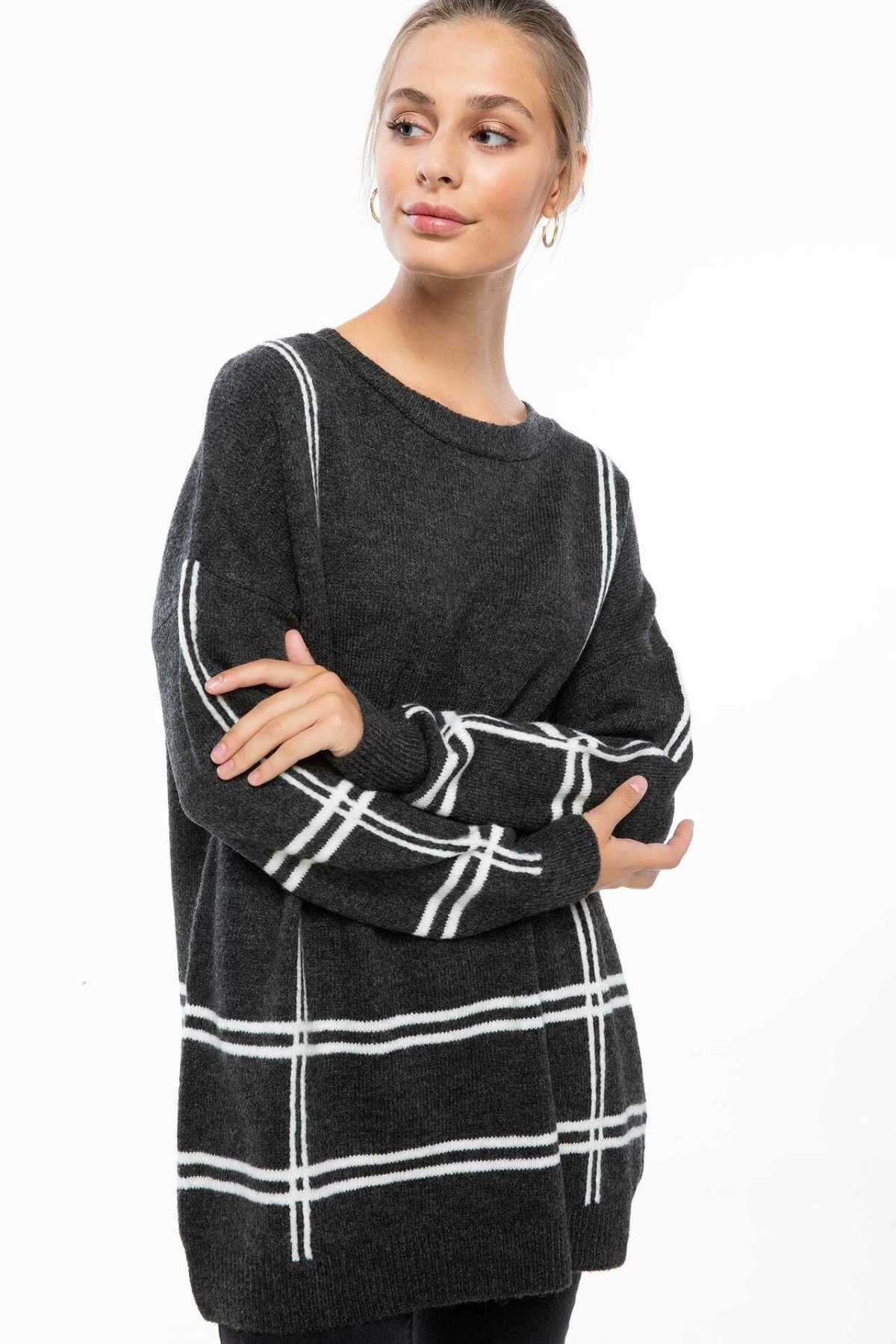 DeFacto New Women Simple O-neck Pullovers Striped Casual Long Sleeves Pullovers Loose Women Autumn  -H6630AZ18WN