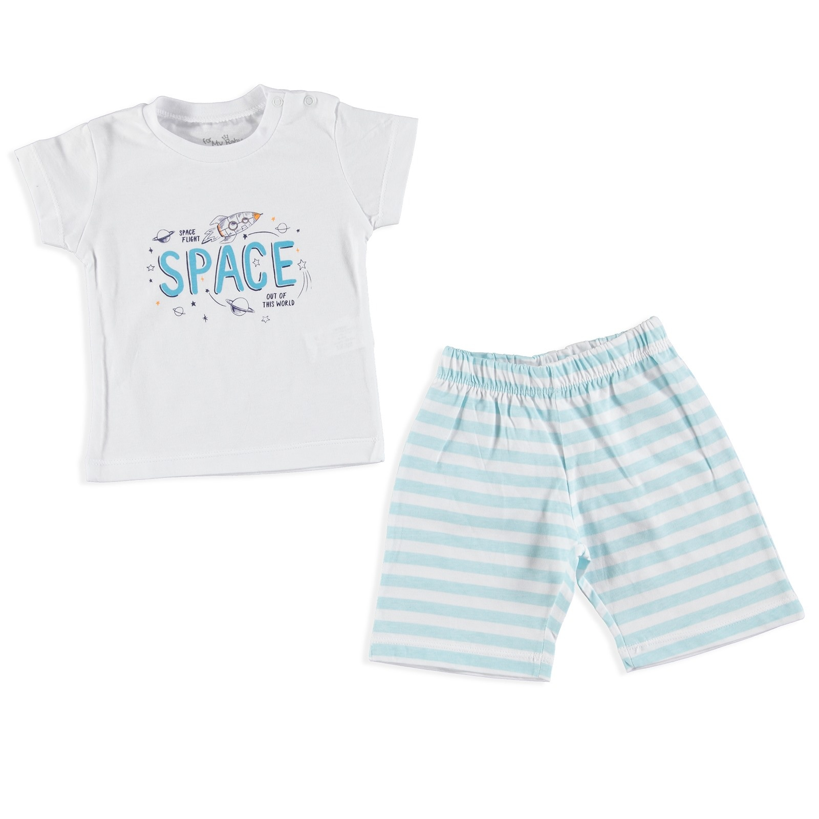 Ebebek For My Baby Summer Space Printed Short Sleeve Pyjamas Set