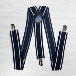 Suspenders for trousers wide (3.5 cm, 3 clips, blue, strip) 54731