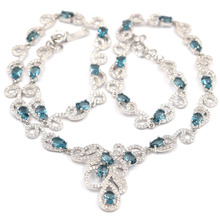 31x31mm Deluxe Created London Blue Topaz White CZ Wedding Womana's Silver Necklace 18.5-19.5inch