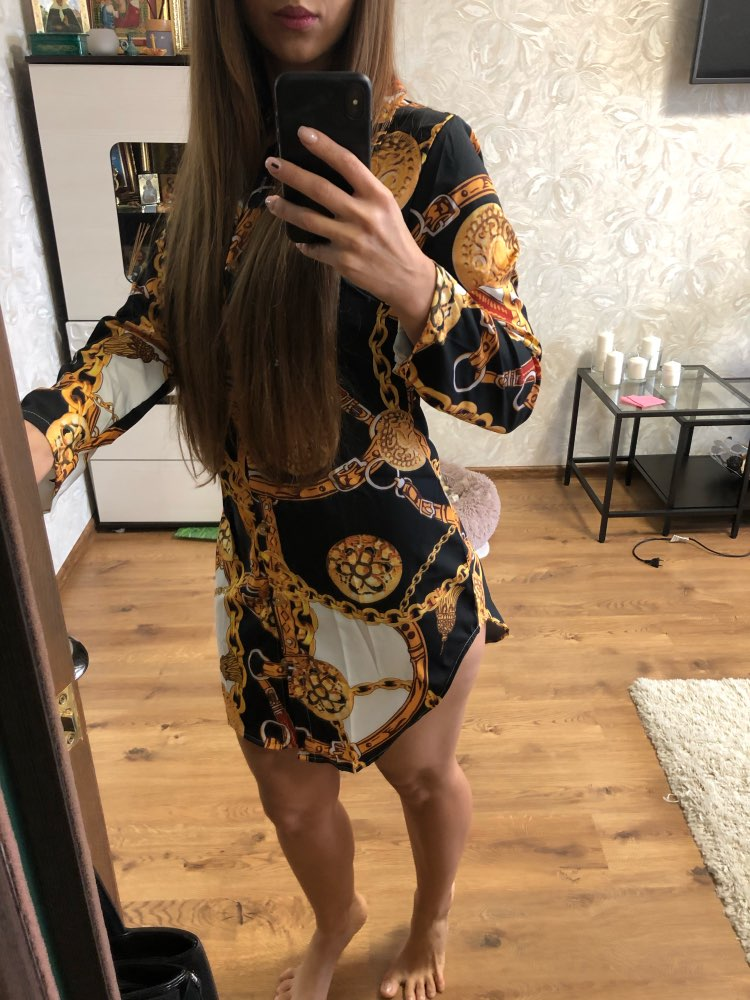 New Print Ladies Dress Sexy Nightclub Lace Short Dress Bend Hem Chain Print Belt Casual Shirt Dress Variety Optional photo review