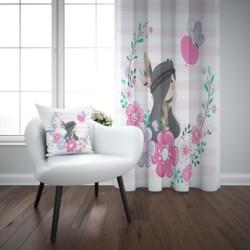 Outra rosa flores corações boêmio asteca menina 3d impressão crianças do bebê painel da janela conjunto cortina combinar presente travesseiro caso